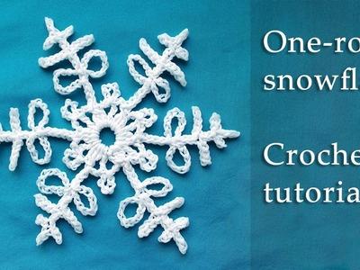 1 row crochet snowflake tutorial