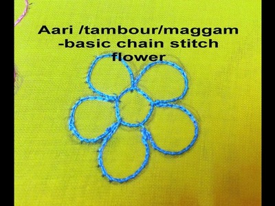 AARI. TAMBOUR.MAGGAM EMBROIDERY: how to do a simple chain stitch flower