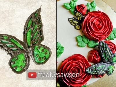 Buttercream butterfly and rose flower wreath cake - how to pipe buttercream butterflies