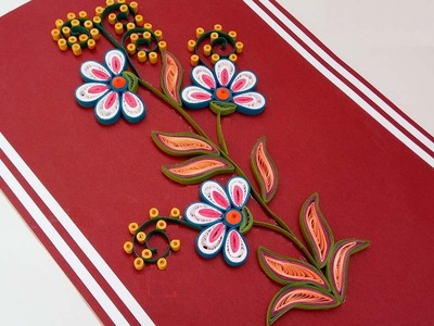 DIY crafts: How to make paper quilling flowers  Step Step Christmas - greeting card