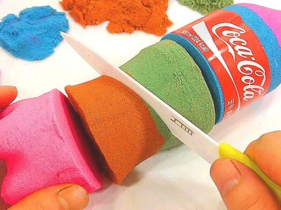 DIY How To Make 'Kinetic Sand Rainbow Colors Coca Cola' Learn Colors Slime Washing Laundry