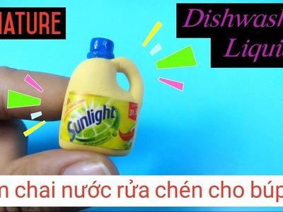 DIY Miniature Dishwashing Liquid Bottle. Đồ chơi trẻ em làm chai nước rửa chén cho búp bê. Ami DIY