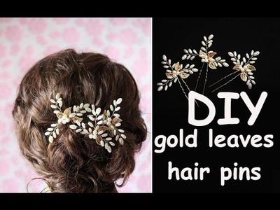 DIY Tutorial Gold Leaves Hair Pins Bohemian Bridal Headpiece Tiara, Crown