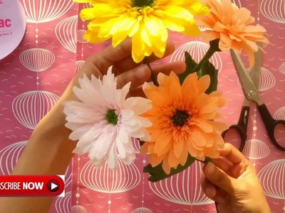 Easy and beautiful Paper Flowers - Gerbera - 10 minutes crafts | by Dzung Mac