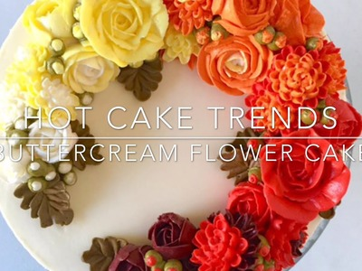HOT CAKE TRENDS 2016 Buttercream ombre roses and chrysanthemums cake - How to make by Olga Zaytseva