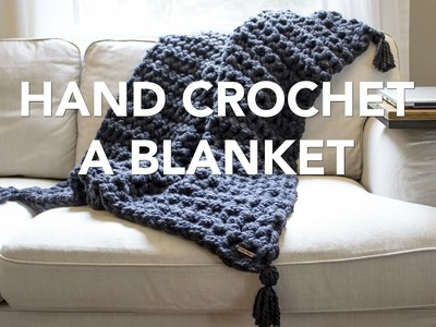 How to Hand Crochet a Blanket in One Hour - Simply Maggie
