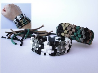 How to Make a Digital Camo Paracord Bracelet from Scraps.Bonus-How to join gutted cords