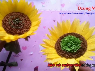 How to make crepe paper flower - Sunflower (fast version)