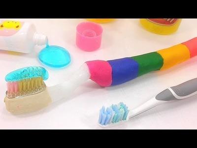 How To Make Play Doh Plastimake Toothbrush Slime Learn Recipe DIY Kids Songs Head Shoulders Knees