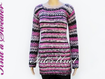 Knit long sweater with sleeves - sweater knitting pattern. Part 1 of 2