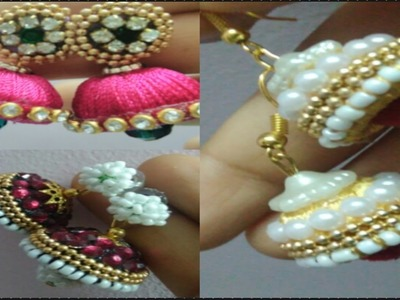 NAVARATHRI SPECIAL VIDEOS-)how to make silk thread earings(jumka style)