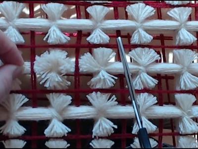 Pom Pom Blanket  - How I cut pom poms on a single color blanket.
