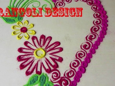 Rangoli design |  simple rangoli design | rangoli design with dots | how to make rangoli designs ste