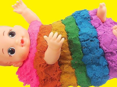 Baby Doll Bath Time Kinetic Sand Colors Rainbow Surprise Toys Twinkle Twinkle Little Star Kids Song