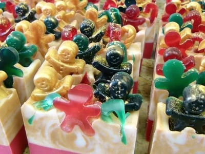 Cutting Gingerbread Men Creme Silk Soap Christmas 2016