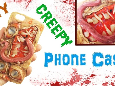 DIY CREEPY MONSTER PHONE CASE Polymer clay & resin halloween tutorial  handmade craft iphone cover