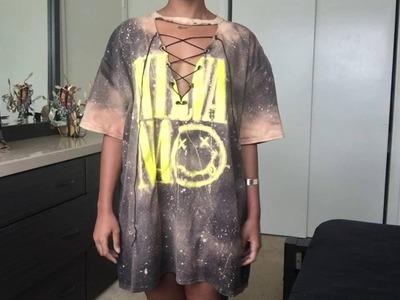 DIY Lace Up T-Shirt Dress | Bleached || TeeTwoTimez
