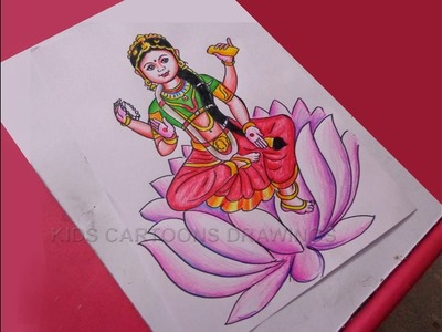 How to Draw Dussehra Navratri Goddess Bala Tripura Sundari Drawing Step by Step for Kids