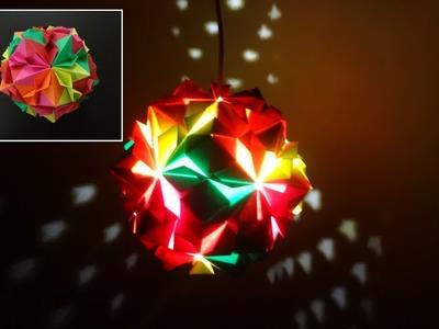 Paper Crafts (Home Decoration Ideas):Beautiful Multicoloured Origami Lantern: Christmas Decor
