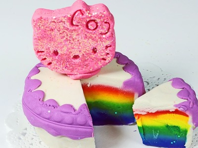 Play Doh Rainbow Cake Glitter Hello Kitty How to Make Rainbow Play Doh Cake & Glitter Hello Kitty