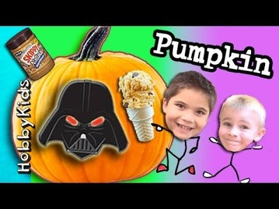 Surprise PUMPKIN Face + Home Made Pumpkin Ice-Cream! DIY Peanut Butter Cones HobbyKidsVids
