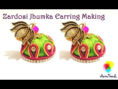 Zardosi Jhumka Earring Making 2 colour Easy DIY Tutorial