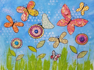 Butterflies & Flowers Mixed Media Acrylic Painting Tutorial | LIVE Summer Art Camp for Kids | Day 4