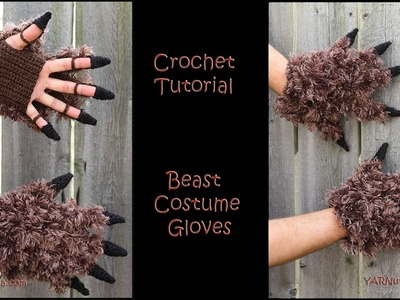 Crochet Tutorial Beast Costume Gloves