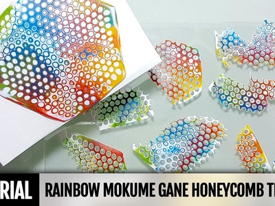 DIY 2IN1How to make Rainbow Mokume Gane technique using a round Honeycomb texture mold. Tutorial