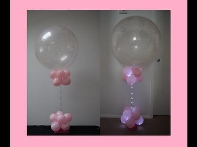 DIY Baby shower Decoration Ideas Balloon Column Centerpiece with Glitter Balloon and lights Tutorial