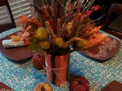 DIY Fall Decor - Napkin Rings & Fall Centerpiece- Inexpensive, Fast & Easy!