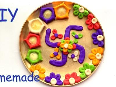 DIY- How to decorate pooja tray.thali with diya by maida flour? Homemade.