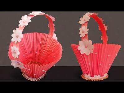 DIY Paper Basket : How to Make Easy Accordion Paper Basket for Chocolates | Christmas Gift Basket