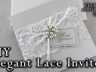 Elegant beaded lace and brooch wedding invitation | DIY Invitations