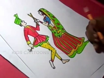 How to Draw Dandiya Dance Drawing for kids Step By Step