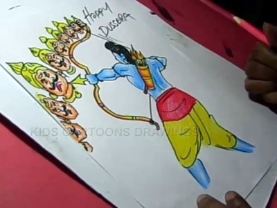 How to Draw Dussehra Greeting Drawing Step by Step for Kids