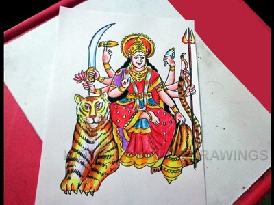 How to Draw Navratri goddess Kanaka durga with Tiger Drawing Step by Step for Kids