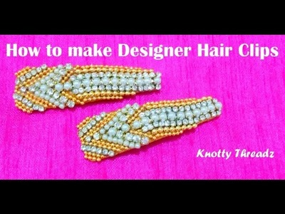 How to  make a Silk Thread Designer Hair Clip at Home | Tutorial - Design 2 !!