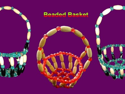 How To Make Crystal Beaded Basket With Wire At Home Simple And Easy | DIY Beaded Home Made Tutorials