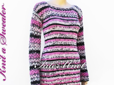 Sweater knitting pattern - how to knit long sweater with sleeves. Part 2 of 2