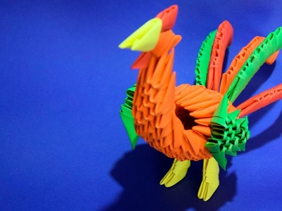 3D origami rooster bird cock of paper tutorial