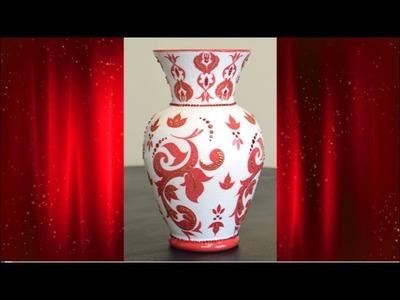DIY Decoupage Damask Vase With Rhinestones For My Mom.Decor Ideas (HD)