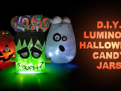 DIY Halloween Luminous Candy Jars - Halloween Party Decorations and Crafts