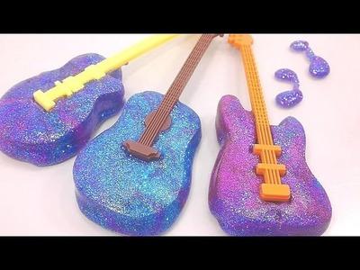 DIY How To Make Galaxy Guitar Slime Freeze Learn Colors Slime Foam Clay | Baa Baa Black Sheep Song