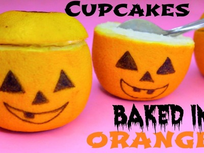 Jack-O-Lantern Cupcakes Baked in Oranges! DIY HALLOWEEN TREATS!