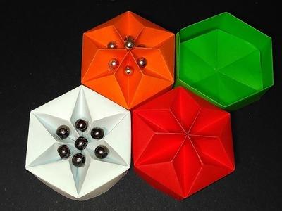 Origami Hexagonal Box (Non Modular) - easy way! Easy DIY star box! Ideas for Christmas