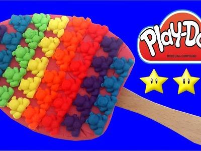 Play Doh Stop Motion How To Make Rainbow Ice Cream Gummy Bear with Play-Dough Clay DIY Creative