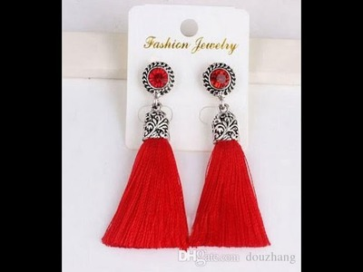 Silk thread Tassel earrings  making tutorial