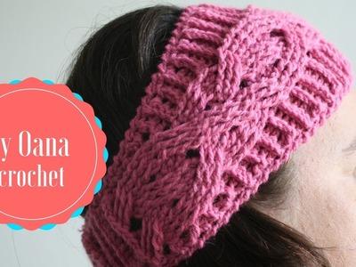 Crochet  headband with braid- by Oana