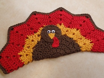 CROCHET How To #Crochet Easy Turkey Placemat or Decoration Potholder HotPad TUTORIAL #343